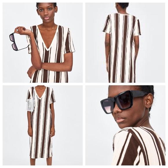Zara Dresses & Skirts - Zara Textured Stripe Rustic Dress size S